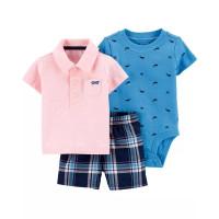 Комплект рожева теніска, шорти, синій бодік з китами