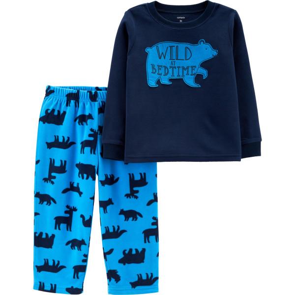 Піжама флісова синя з ведмедем