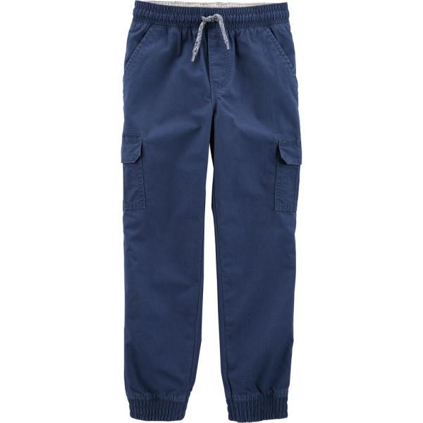 Штани темно-сині з шнурком, накладними карманами